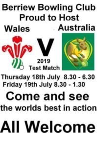 Wales v Australia – Berriew Bowling Club